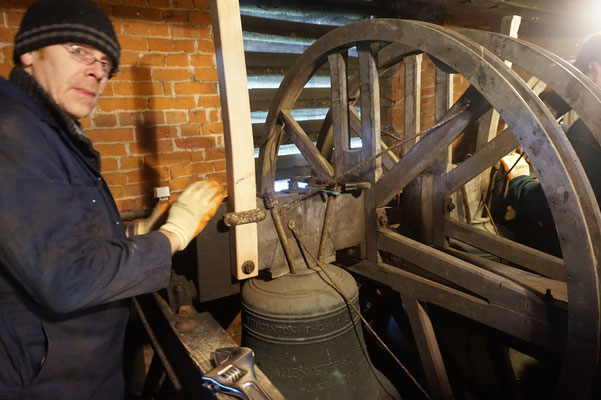 The old bells are taken down to go to Loughborough for cleaning.
