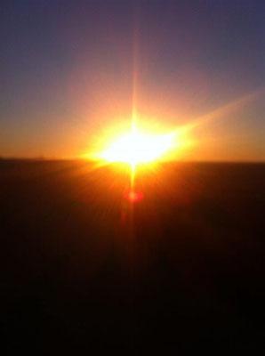 Frühmorgens der Sonne entgegen...