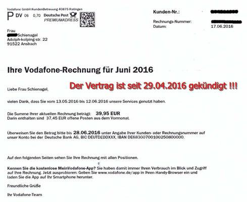 Vodafone Rechnung vom 17.06.2016