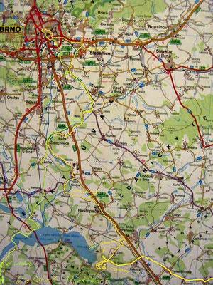 Karte Tag 3+4 Nove Mlyny - Brno - Vodni Dilo