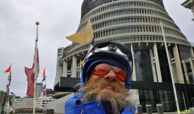 NZ: Solatrike in Wellington bei Beehive