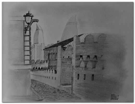 158.Skizze.Baku.Oldtown & Flames.Azerbaijan