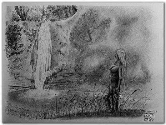 155.Skizze.Wasserfall.Bot.Garten.Tbilisi.Georgien