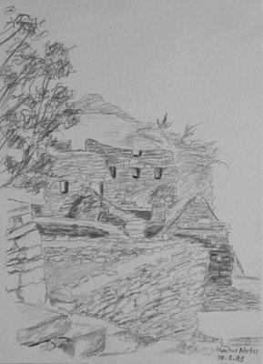 038.Skizze, Machu Picchu /Peru