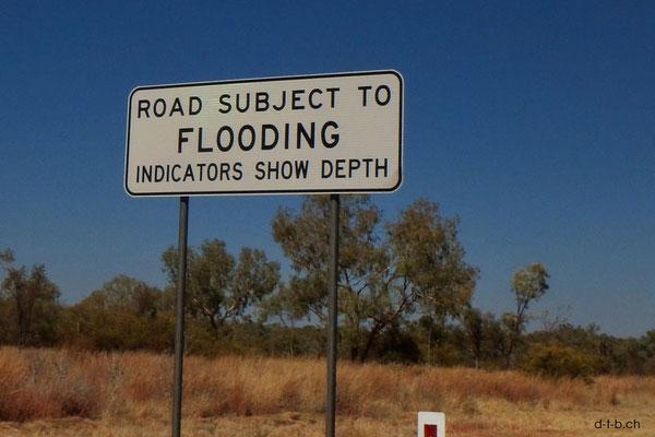 Australien.Überschwemmungstafel