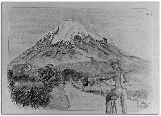 233.Skizze.Mt.Taranaki from Newall.New Zealand