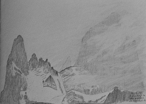 028.Skizze, Fitz Roy in den Wolken im Gegenlicht /Argentinien