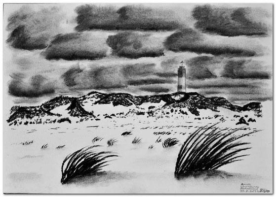 Kohlezeichnung: Amrum Leuchtturm