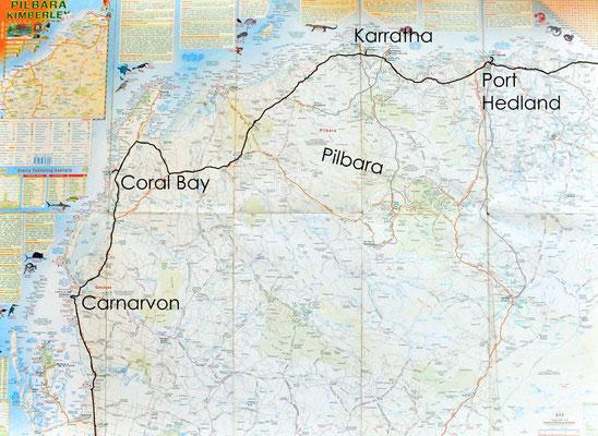 Karte: Pilbara (Port Hedland - Carnarvon)