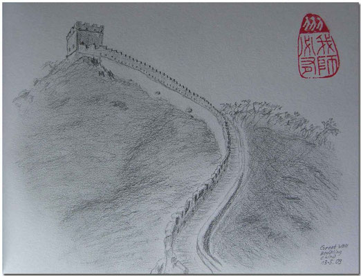 095.Skizze, Great Wall, Badaling /China