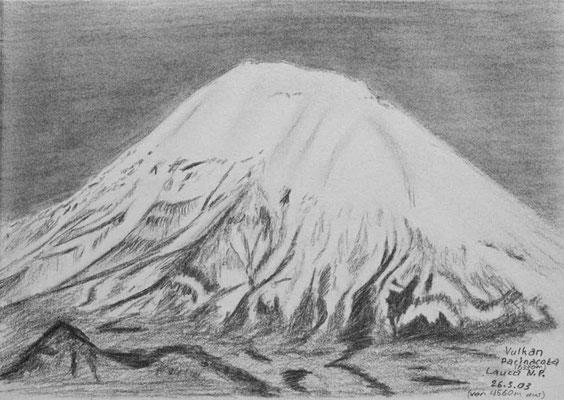035.Skizze, Vulkan Parinacota 6330m, Lauca N.P. /Chile
