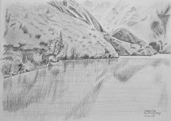 042.Skizze, Laguna Puruhuay /Peru