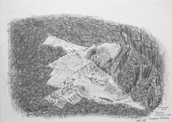 039.Skizze, Aussicht auf Machu Picchu von Huayna Picchu /Peru