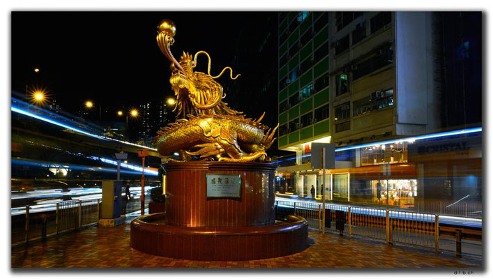 HK0107.Goldener Drachen Statue