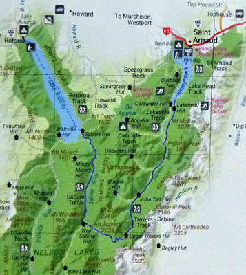 Karte: Nelson Lakes N.P. Travers - Sabine Circuit vereinfacht