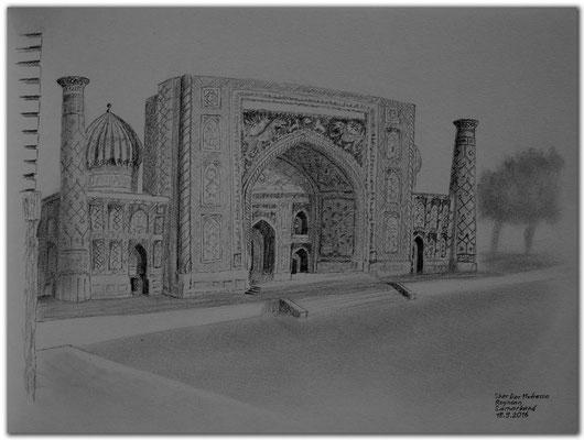 163.Skizze.Samarkand.Sher Dor Medressa.Registan.Uzbekistan