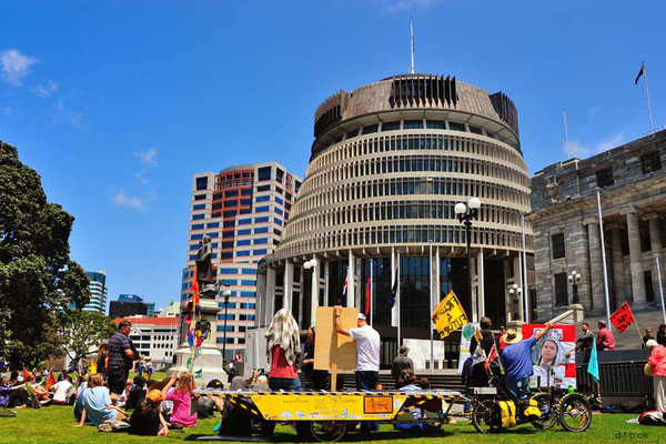 NZ: Solatrike in Wellington vor Beehive bei Fridays for Future