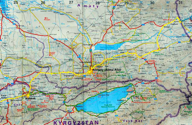 Karte Kirgisistan - Kasachstan