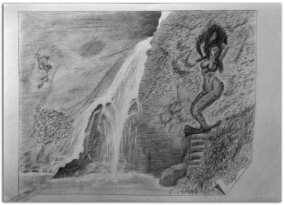 208.Skizze,Singsing Waterfall,Bali.Indonesia
