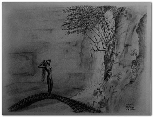 154.Skizze.Wasserfall.Tbilisi.Georgien