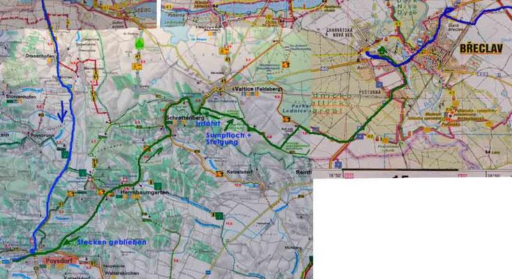 Karte Tag 6: Poysdorf - Breclav