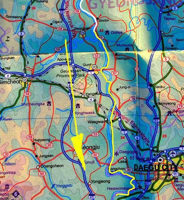 Tag 277: Ilseon-ri - Daegu (Karte)