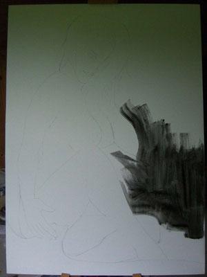 Vorzeichnung mit Bleistift und schwarzer Hintergrund angefangen