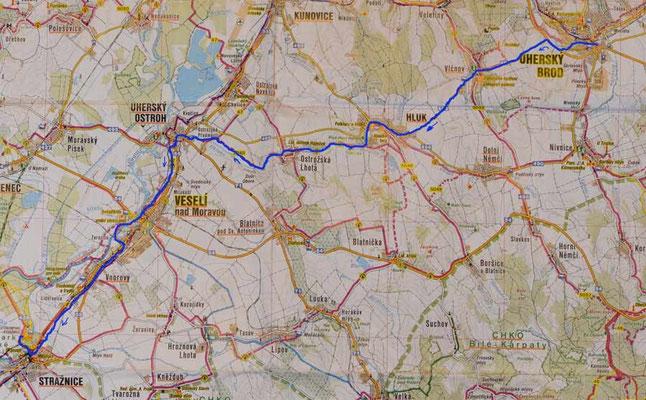 Karte Tag 1: Uherský Brod - Straznice
