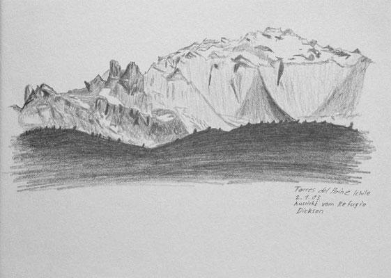 022.Skizze, Torres del Paine, Aussicht vom Refugio Dickson /Chile