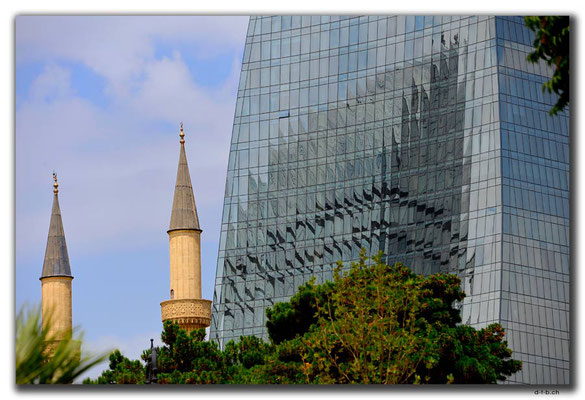 AZ078.Baku.Mosque & Flame Towers