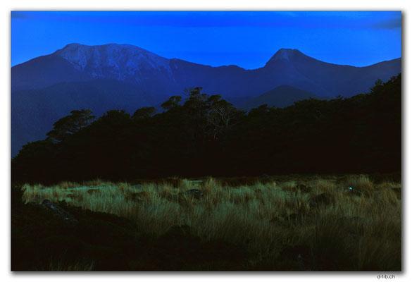 NZ0506.Kahurangi N.P.Evening at Sylvester Hut