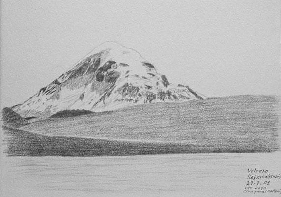 036.Skizze, Volcano Sajama 6542m vom Lago Chungara /Bolivien