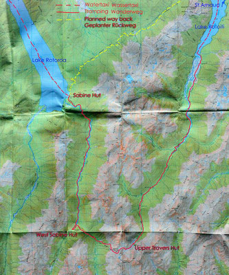 Karte: Nelson Lakes N.P. Travers - Sabine Circuit