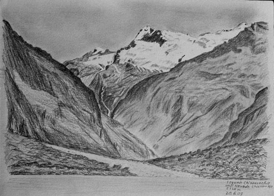 047.Skizze, Laguna Chinancocha und Nevado Chacrarraja 5326m /Peru
