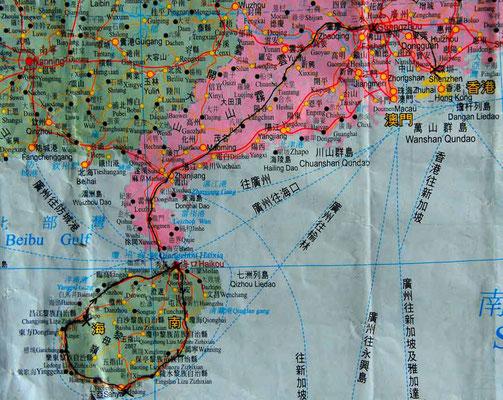 Karte von Südchina - per Zug