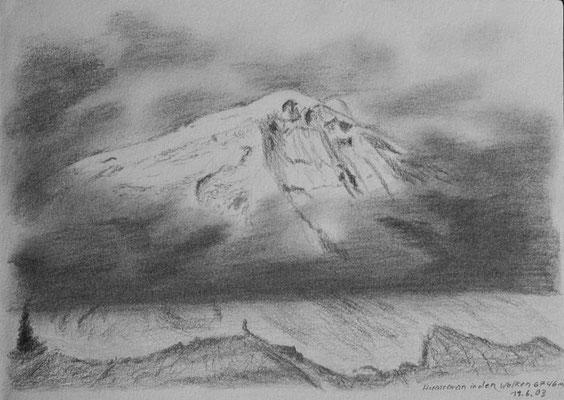 046.Skizze, Huascarán in den Wolken /Peru