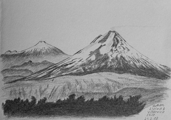 032.Skizze, Vulkan Llaima & Viliarrica /Chile
