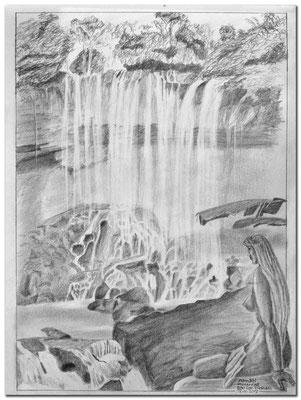 189.Skizze.Dambri Wasserfall.Bao Loc.Vietnam