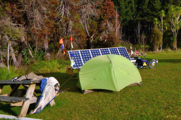 Solatrike camping in Northland, New Zealand