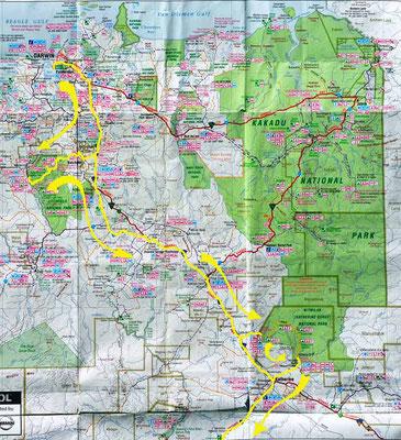 Karte: Darwin bis Katherine