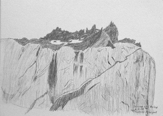 024.Skizze, Torres del Paine, Cuerno Norte /Chile