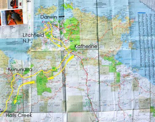Karte: Darwin bis Halls Creek