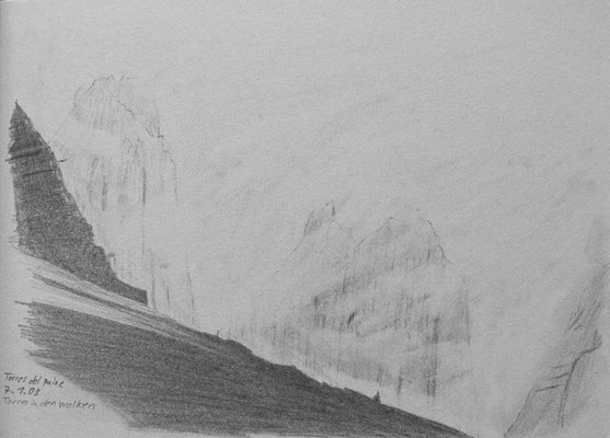 025.Skizze, Torres del Paine, Torres in den Wolken /Chile