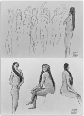 247.Skizzen.Life Drawing.quick poses.Clementine.Christchurch. New Zealand
