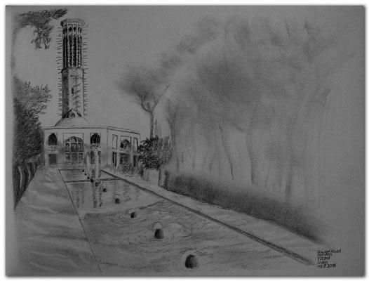 160.Skizze.Yazd.Dowlat Abad Garden.Iran