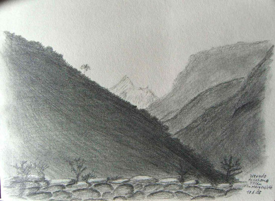 045.Skizze, Nevada Pomabamba 5336m im Morgenlicht /Peru