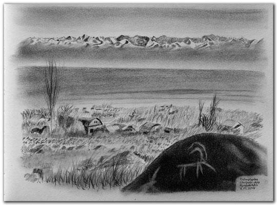 168.Skizze.Cholpon Ata.Petroglyphen.Kyrgyzstan