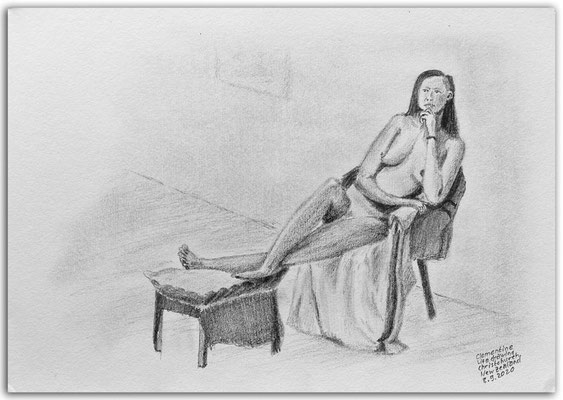 248.Skizze.Life Drawing.long pose.Clementine.Christchurch. New Zealand