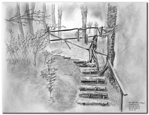 134.Skizze.Ho Chi Minh-Pfad,Waldtreppe,Freudenstein,Deutschland