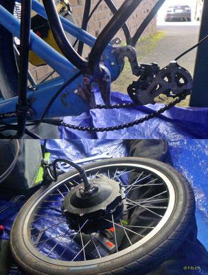 NZ: Solatrike Hinterrad ausgebaut für Reparatur